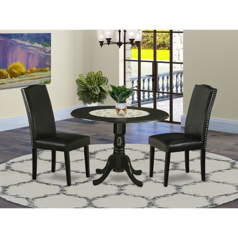 Round 42 Inch Table and Parson Chairs in Black PU Leather (Number of Chairs Option)