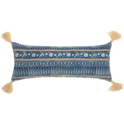 "Mina Victory Boho Stitch Print Blue Cotton Throw Pillow 13"" x 33"""