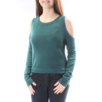 MATERIAL GIRL Womens Green CUT OUT SHOLDERS AND LACE TRIM Long Sleeve Jewel Neck Top Size: S