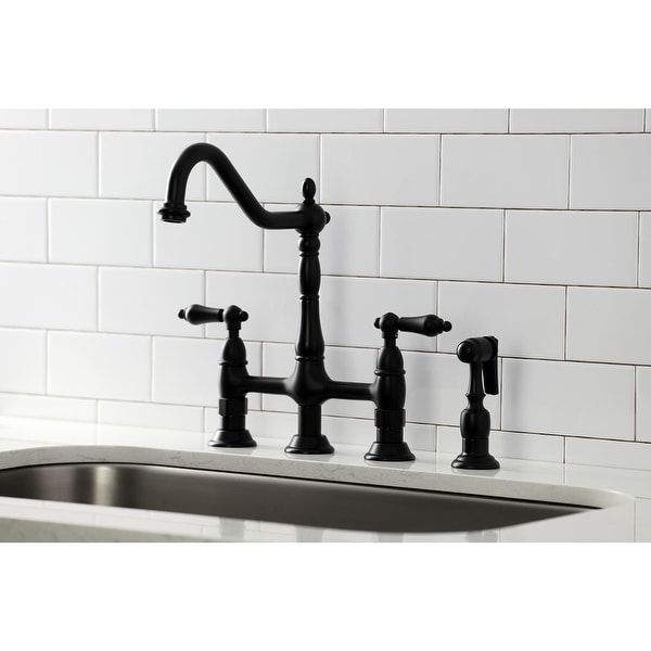 Heritage Bridge Kitchen Faucet with Brass Sprayer. Opens flyout.
