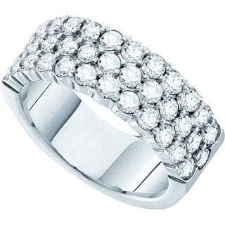 14k White Gold Womens Natural Round Diamond 3-row Wedding Anniversary Band 2.00 Cttw