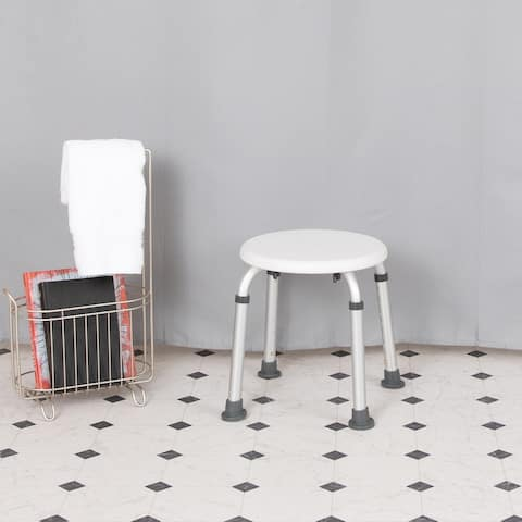 Tool-Free 300 Lb. Capacity, Adjustable White Bath & Shower Stool