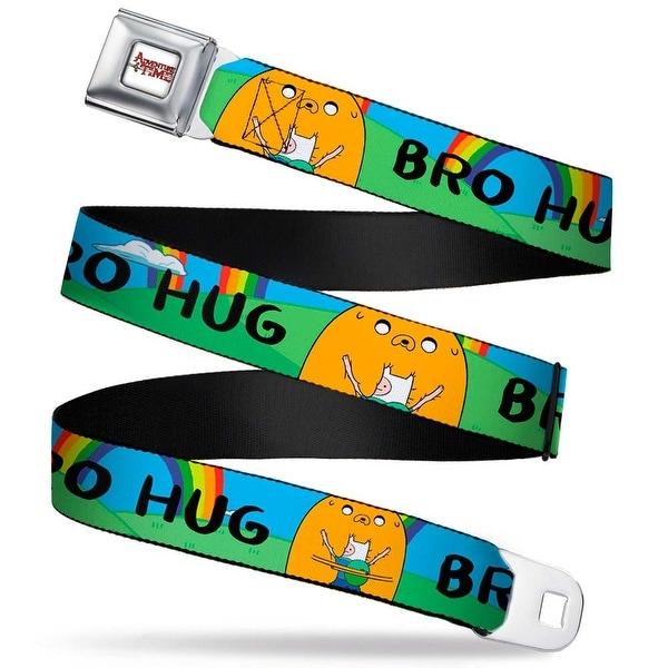 Adventure Time Logo White Full Color Finn & Jake Bro Hug W Rainbow Webbing Seatbelt Belt