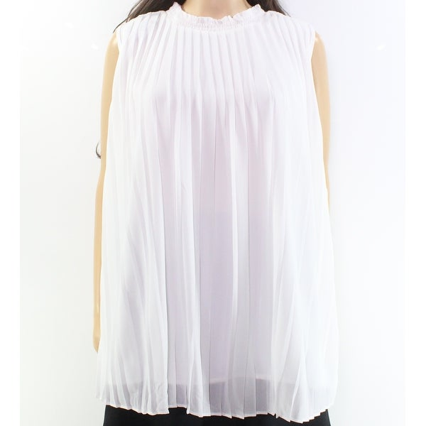 4ca4b916 Shop NY Collection White Ruffle High-Neck Pleated Women's Size XL Blouse -  On Sale - Free Shipping On Orders Over $45 - Overstock - 27299191