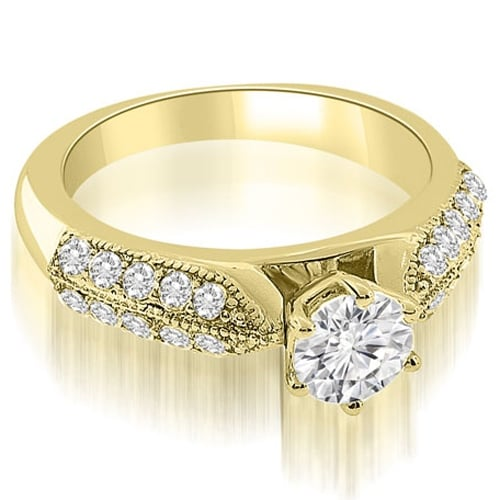 1.50 cttw. 14K Yellow Gold Antique Style Cathedral Round Diamond Engagement Ring