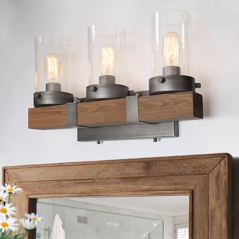 "Makkovik 3-light Rustic Wood Wall Sconce Bathroom Vanity Lights by Havenside Home - L18.1""x W5.9""x H10.6"""