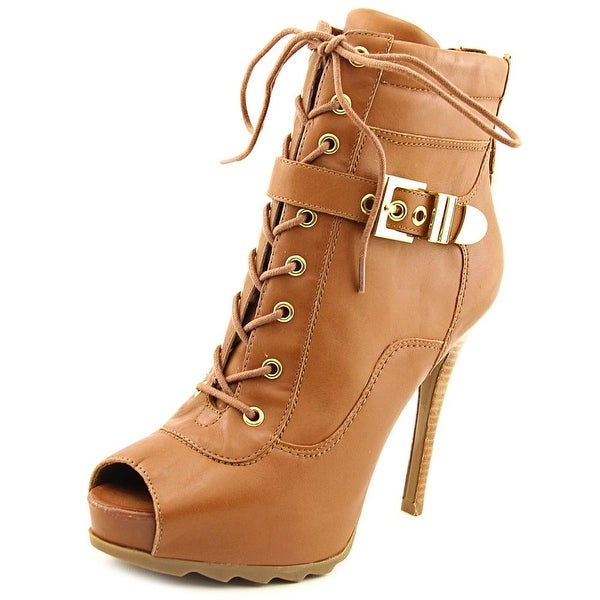 Guess Bieinda Peep-Toe Leather Ankle Boot
