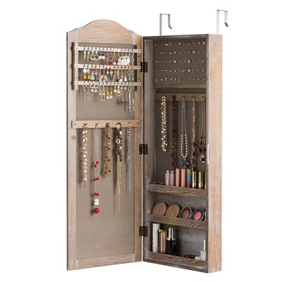 Wall Door Jewelry Armoire Cabinet with Full Length Mirror