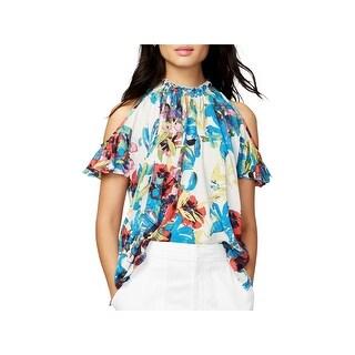 Rachel Rachel Roy Womens Casual Top Floral Print Cold Shoulder