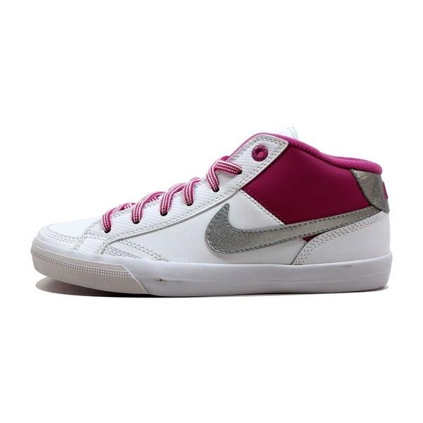 Nike Women's Capri II 2 Mid SI White/Metallic Silver-Club Pink 442807-109 Size 5