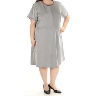 MICHAEL KORS $135 Womens New 1075 White Geometric Fit + Flare Dress 24W Plus B+B