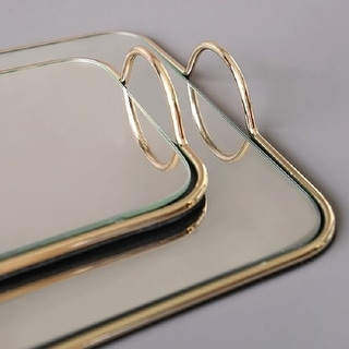 FloralGoods Modern Tray Simple Gold Line Mirrored Tray