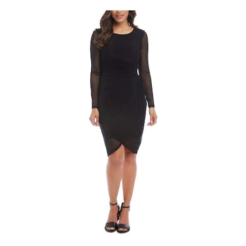KAREN KANE Black Long Sleeve Knee Length Dress S