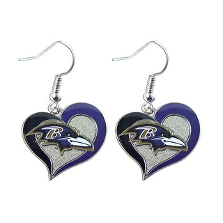 "NFL Baltimore Ravens 3/4"" Swirl Heart Shape Dangle Logo Earring Set  Charm Gift"