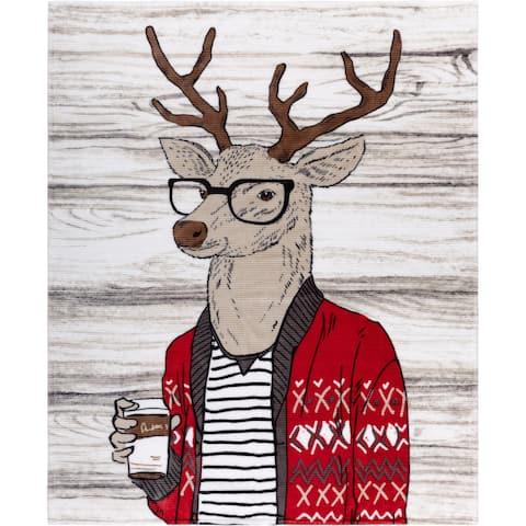 Throw Ribbed Printed Flannel Casual Deer