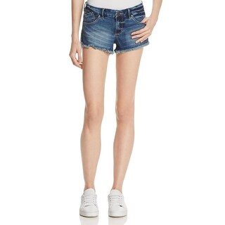 Guess Womens Selene Hot Shorts Denim Shorts Faded Raw Trim