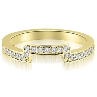 0.25 cttw. 14K Yellow Gold Round Cut Diamond Curve Wedding Band (Option: 3)