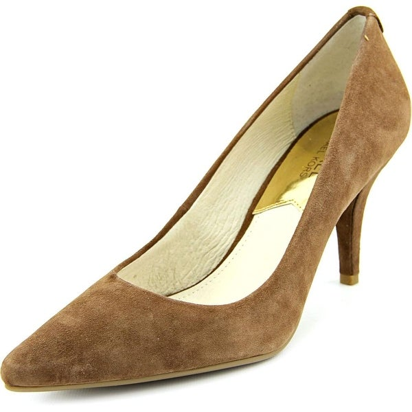 Michael Michael Kors Flex Mid Pump Women Round Toe Suede Brown Heels