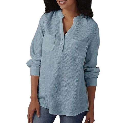 Women's Pocket Cotton And Linen Plus Size Shirt