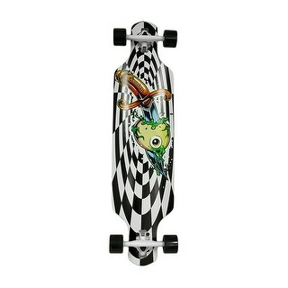 40 in. Drop Through 8 Ply Complete Longboard w/Checkers Graphics - Black