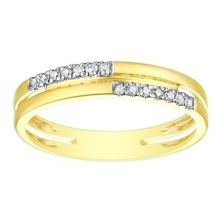 Prism Jewel 1.15MM 0.09CT G-H/SI1 Natural Diamond Light Weight 2-Row Ring - White G-H