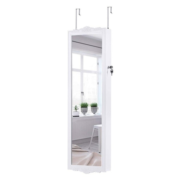LANGRIA Wall-Mounted Jewelry Cabinet Mirrored Organizer Armoire, White