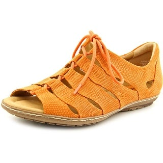 Earth Plover Women Open Toe Leather Orange Gladiator Sandal
