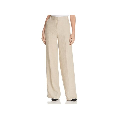 Theory Womens Piazza Dress Pants Linen Wide-leg