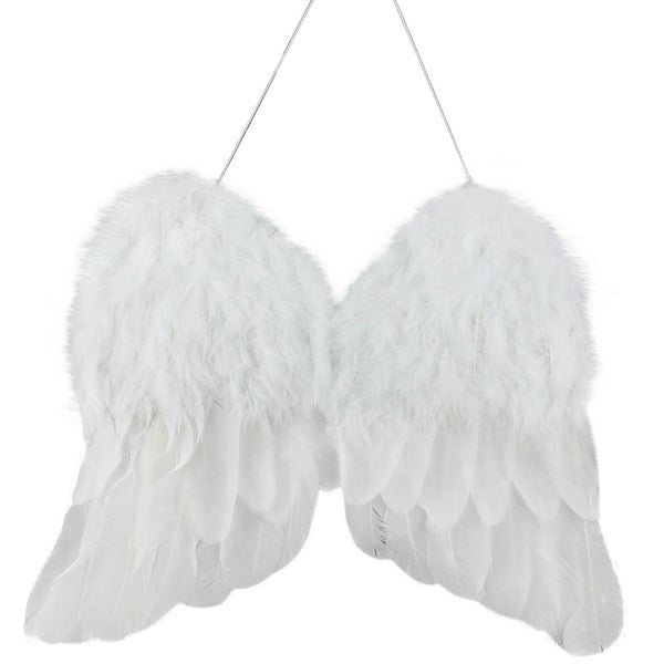"""13"""" Winter Solace White Faux Feather Angel Wings Christmas Ornament"""