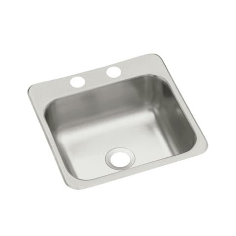 "Sterling B155-2 15"" Single Basin Drop In Stainless Steel Bar Sink with SilentShield -"