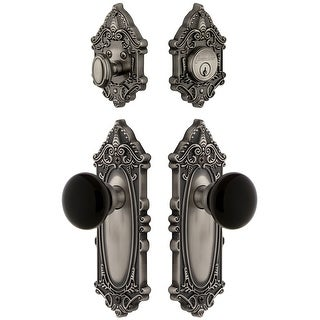 Grandeur GVCCOV_SP_ESET_234  Grande Victorian Solid Brass Rose Single Cylinder Keyed Entry Deadbolt and Knobset Combo Pack with