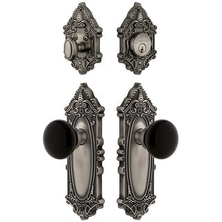 Grandeur GVCCOV_SP_ESET_238  Grande Victorian Solid Brass Rose Single Cylinder Keyed Entry Deadbolt and Knobset Combo Pack with