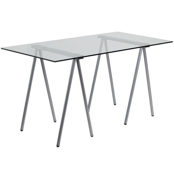 Malcom Glass Home/Office Computer Desk w/Silver Frame