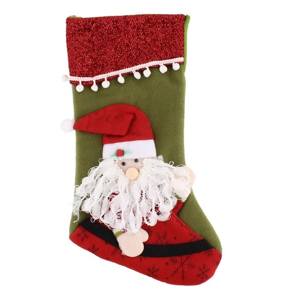Christmas Day Cotton Blends Santa Claus Stocking Gift Pack Holder Tricolor