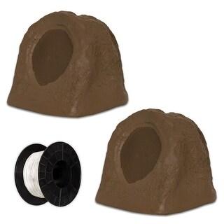 Acoustic Audio RS6SB Brown Rock Speaker Pair and Wire Weatherproof Speakers