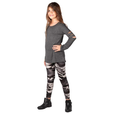 Lori&Jane Girls Charcoal Hi-Low Cut Out Tunic Leggings Set