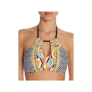 Trina Turk Womens Brasilia High Neck Printed Swim Top Separates