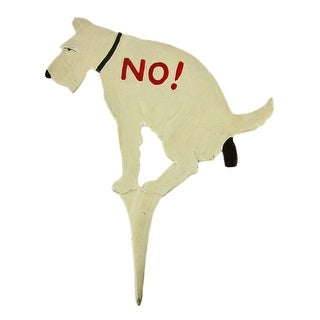 Large NO DUMPING Cast Iron Yard Stake Dog Sign Funny