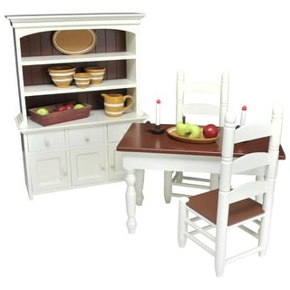 """Link to 29 pc Farm Furniture & Accessories, 18"""" Doll Kitchen Dining Table & Chairs, Hutch, Food, Dishes - Fits American Girl Dolls Similar Items in Dolls & Dollhouses"""