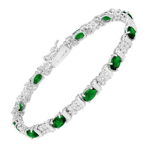 "Green Glass Tennis Bracelet with Cubic Zirconia in Rhodium-Plated Bronze, 7.25"""