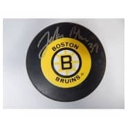 Signed Blue John Boston Bruins Boston Bruins Hockey Puck autographed