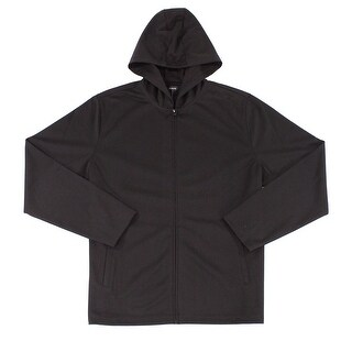 Alfani Deep Black Mens Size 2XL Full Zip Hooded Stretch Sweater
