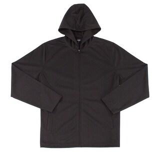 Alfani NEW Black Mens Size Medium M Full Zip Stretch-Knit Hooded Sweater