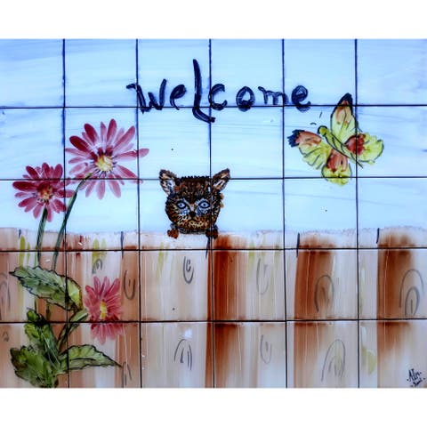 24in x 20in Welcome Sign 30pc Tile Ceramic Wall Mural