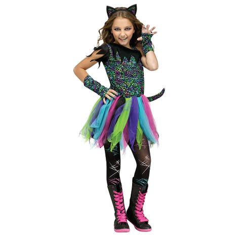 Girls Wild Rainbow Cat Costume