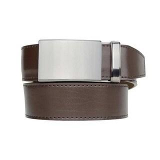 Nexbelt Classic Series Gunmetal Espresso Leather Strap Dress Belt