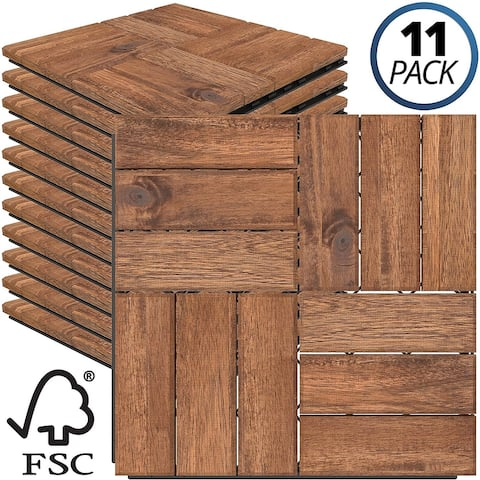 Mammoth Sustainably Sourced Solid Acacia Wood Oiled Finish Tools Free Assembly Interlocking Water Resistant Deck Tiles