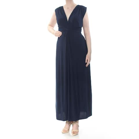 LOVE SQUARED Womens Navy Knot Front Plunge Neck Sleeveless V Neck Maxi Evening Dress Plus Size: 2X