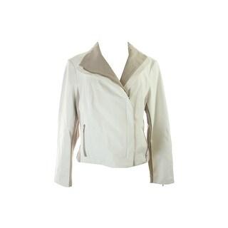 Inc International Concepts White Colorblocked Pleather Moto Jacket S
