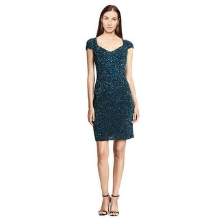 Theia Sequined Cap Sleeve Sheath Cocktail Dress